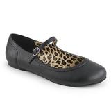 Sort Kunstlæder ANNA-02 store størrelser ballerina sko