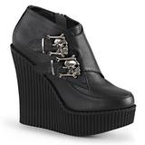 Sort Kunstlæder CREEPER-306 wedges creepers sko med kilehæle