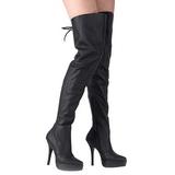 Sort Læder 13,5 cm INDULGE-3011 overknee støvler med hæl til Mænd