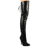 Sort Læder 13 cm LEGEND-8899 overknee støvler med hæl