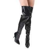 Sort Lak 13 cm SEDUCE-3010 overknee støvler med hæl