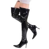 Sort Lak 9,5 cm LUST-3000 overknee støvler med hæl