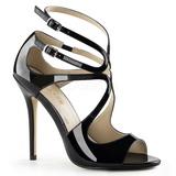 Sort Lakeret 13 cm AMUSE-15 højhælede sandaler til kvinder