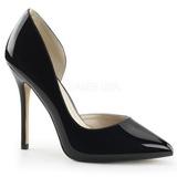 Sort Lakeret 13 cm AMUSE-22 klassisk pumps sko til damer