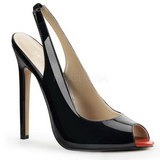 Sort Lakeret 13 cm SEXY-08 Sling Back Pumps