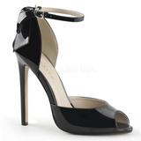 Sort Lakeret 13 cm SEXY-16 klassisk pumps sko til damer