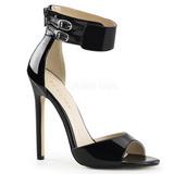 Sort Lakeret 13 cm SEXY-19 højhælede sandaler til kvinder