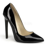 Sort Lakeret 13 cm SEXY-20 Dame Pumps Flade Hæle
