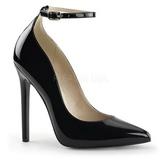 Sort Lakeret 13 cm SEXY-23 klassisk pumps sko til damer