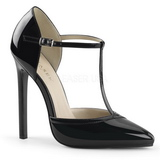 Sort Lakeret 13 cm SEXY-27 Dame Pumps Stilethæle Sko