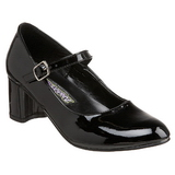 Sort Lakeret 5 cm SCHOOLGIRL-50 klassisk pumps sko til damer