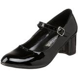 Sort Lakeret 5 cm SCHOOLGIRL-50 klassisk pumps sko til damer