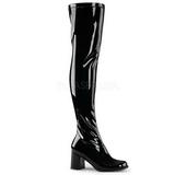 Sort Lakeret 8 cm GOGO-3000 overknee støvler med hæl til Mænd