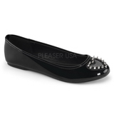 Sort Lakeret STAR-24 gothic ballerina sko med flade hæle