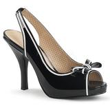Sort Laklæder 11,5 cm PINUP-10 store størrelser sandaler dame