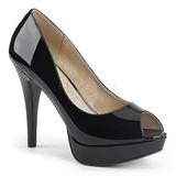 Sort Laklæder 13,5 cm CHLOE-01 store størrelser pumps sko