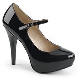 Sort Laklæder 13,5 cm CHLOE-02 store størrelser pumps sko