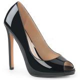 Sort Laklæder 13 cm SEXY-42 klassisk pumps sko til damer