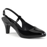 Sort Laklæder 7,5 cm DIVINE-418 store størrelser pumps sko