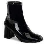 Sort Laklæder 7,5 cm GOGO-150 stretch ankelstøvler med blokhæl til kvinder