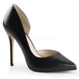 Sort Mat 13 cm AMUSE-22 klassisk pumps sko til damer