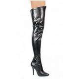 Sort Mat 13 cm SEDUCE-3000 overknee støvler med hæl