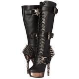 Sort Mat 14 cm MUERTO-2028 Gothic Støvler til Kvinder