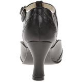 Sort Mat 7,5 cm retro vintage FLAPPER-26 dame pumps med lave hæl