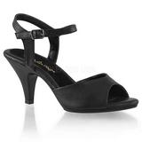 Sort Mat 8 cm BELLE-309 lave højhælede sko med lav hæl
