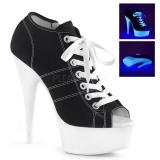 Sort Neon 15 cm DELIGHT-600SK-01 canvas sneakers med høje hæle
