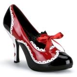 Sort Rød 10,5 cm QUEEN-03 damesko med høj hæl