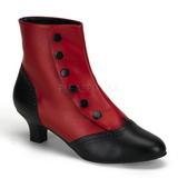 Sort Rød 5 cm FLORA-1023 Dame Ankelstøvler