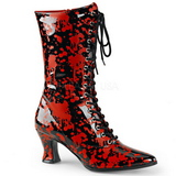 Sort Rød 7 cm VICTORIAN-120BL Dame Ankel Støvler med Snørebånd