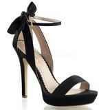 Sort Satin 12 cm LUMINA-25 højhælede sandaler til kvinder
