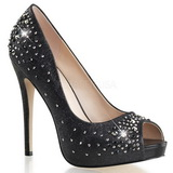 Sort Satin 13 cm HEIRESS-22R Strass Plateau Pumps Damesko