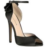 Sort Satin 13 cm SEXY-16 klassisk pumps sko til damer