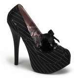 Sort Satin 14,5 cm Burlesque BORDELLO TEEZE-01 Høje Hæle Pumps Plateau