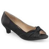 Sort Satin 5 cm FAB-422 store størrelser pumps sko