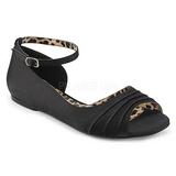 Sort Satin ANNA-03 store størrelser ballerina sko