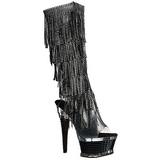 Sort Strass 16,5 cm ILLUSION-2017RSF høje damestøvler med frynser