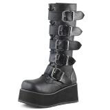 Sort Vegan 8,5 cm TRASHVILLE-518 demonia støvler - unisex plateaustøvler
