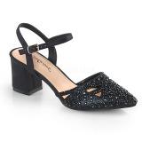 Sort glimmer 7 cm Fabulicious FAYE-06 højhælede sandaler til kvinder