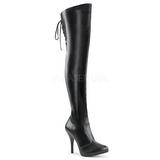 Sort kunstlæder 12,5 cm EVE-312 lårlange støvler til brede lægge