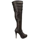 Sort kunstlæder 13 cm CHLOE-308 lårlange støvler til brede lægge