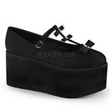 Sort lærred 8 cm CLICK-08 gothic plateausko lolita sko tykke såler