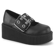 Sorte 7,5 cm CREEPER-230 maryjane creepers sko - plateausko med spænde
