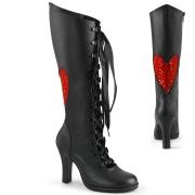 Sorte 9,5 cm GLAM-243 højhælede snørestøvler kvinder