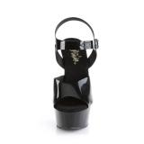 Sorte høje hæle 15 cm DELIGHT-608N JELLY-LIKE stræk materiale plateau høje hæle