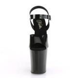 Sorte høje hæle 20 cm FLAMINGO-808N JELLY-LIKE stræk materiale plateau høje hæle