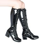 Sorte lakboots snørestøvler 5 cm - patent 70 erne hippie disco gogo lakstøvler
